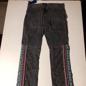 NWT! RARE Ralph Lauren Beaded Leather Fringe Denim